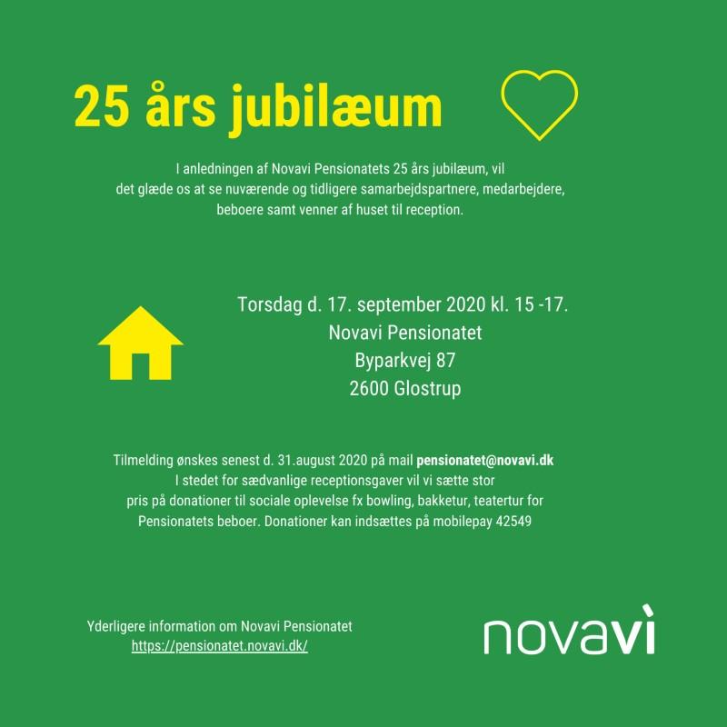 invitation til Novavi Pensionatets jubilæum